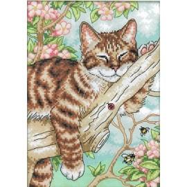 Siuvinėjimo kryželiu rinkinys Katinas medyje