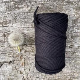 Medvilninė virvelė 3mm juodos spalvos